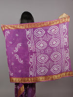 Purple White Hand Tie & Dye Bandhej Cotton Mul Saree - S031701317