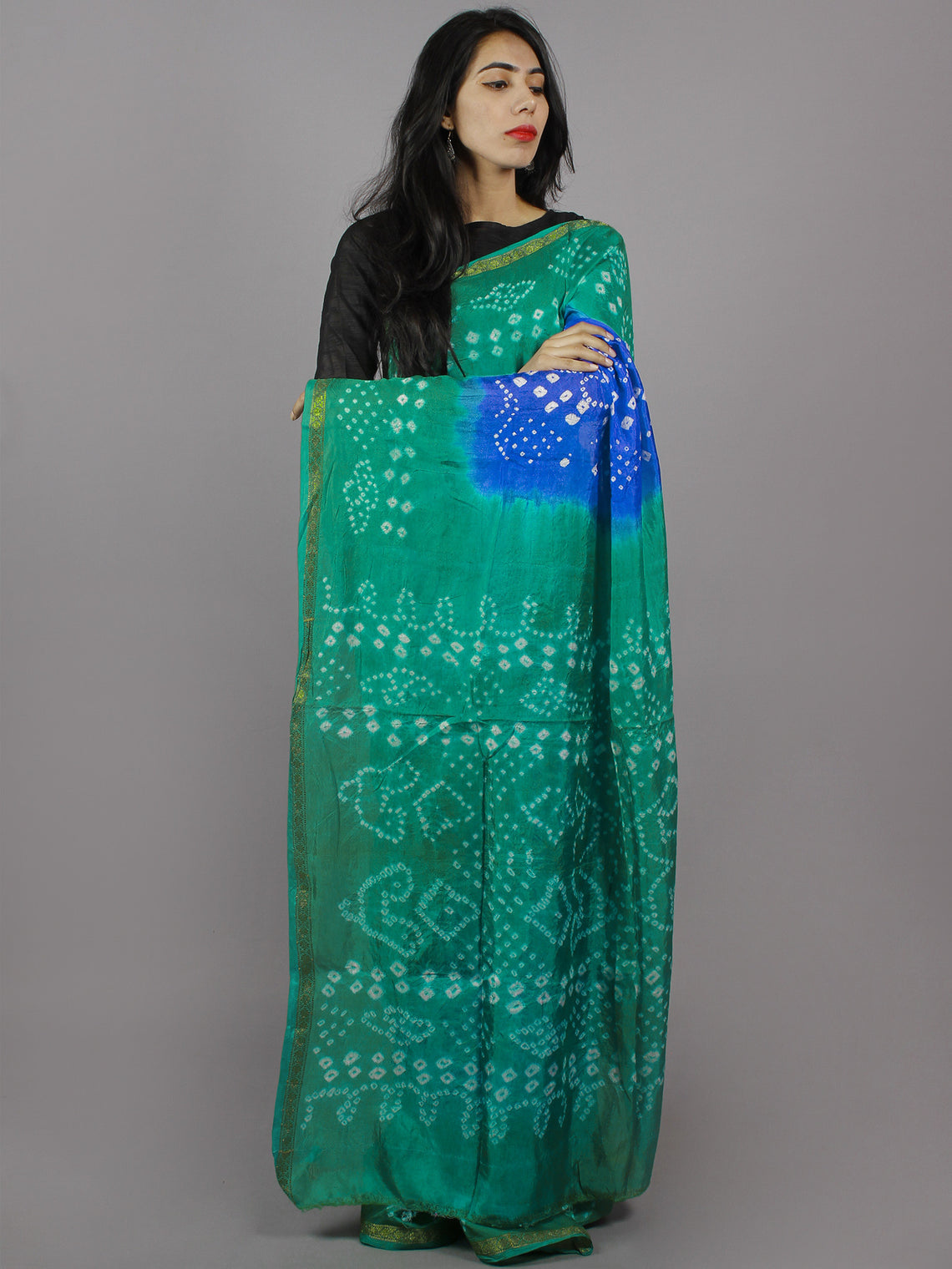 Blue Green Ivory Hand Tie & Dye Bandhej Art Silk Saree - S031701319