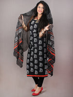 Black White Hand Block Printed Cotton Suit-Salwar Fabric With Chiffon Dupatta - S1628132