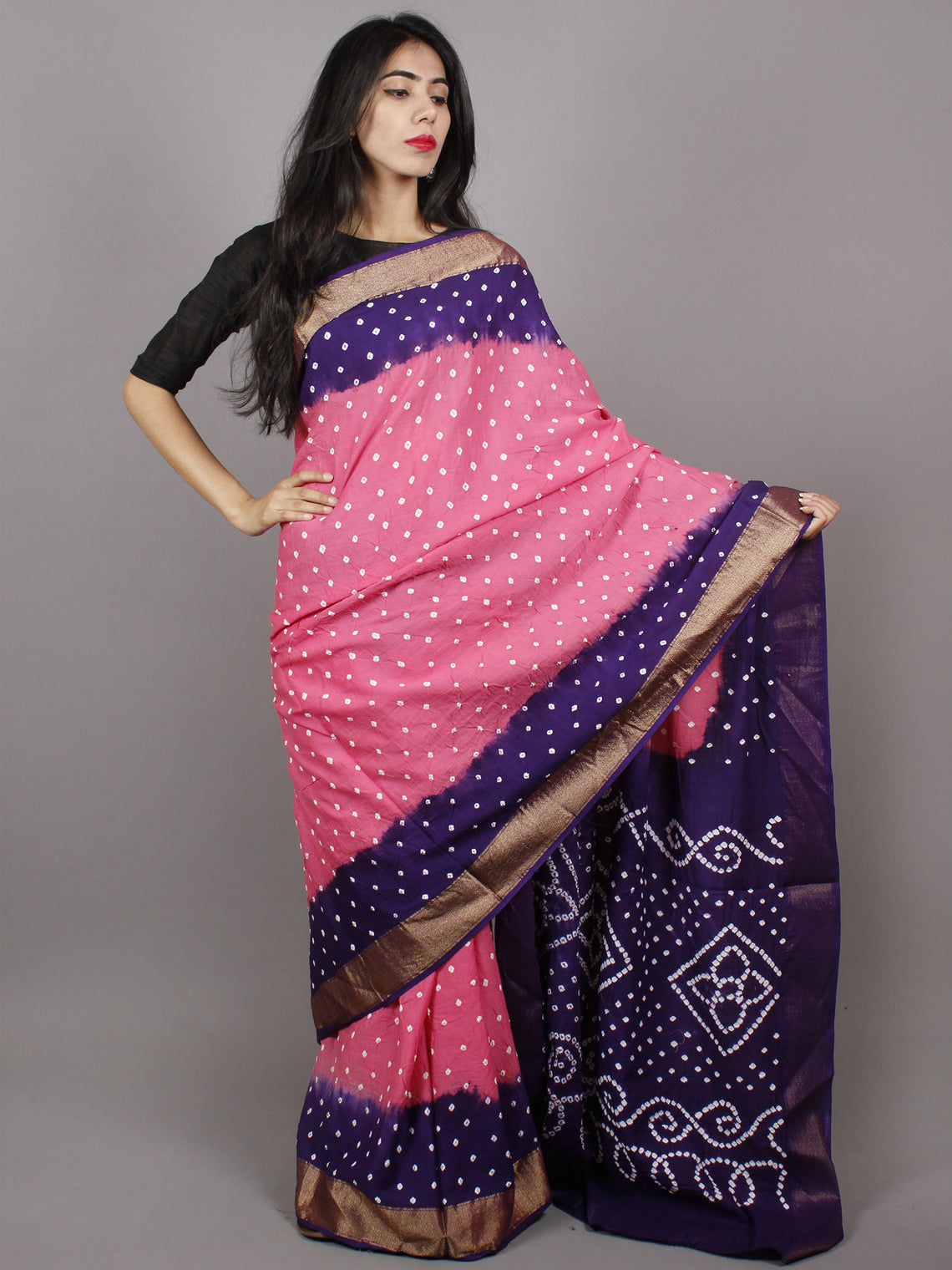 Pastel Pink Purple Ivory Hand Tie & Dye Bandhej Glace Cotton Saree With Resham Border - S031701326