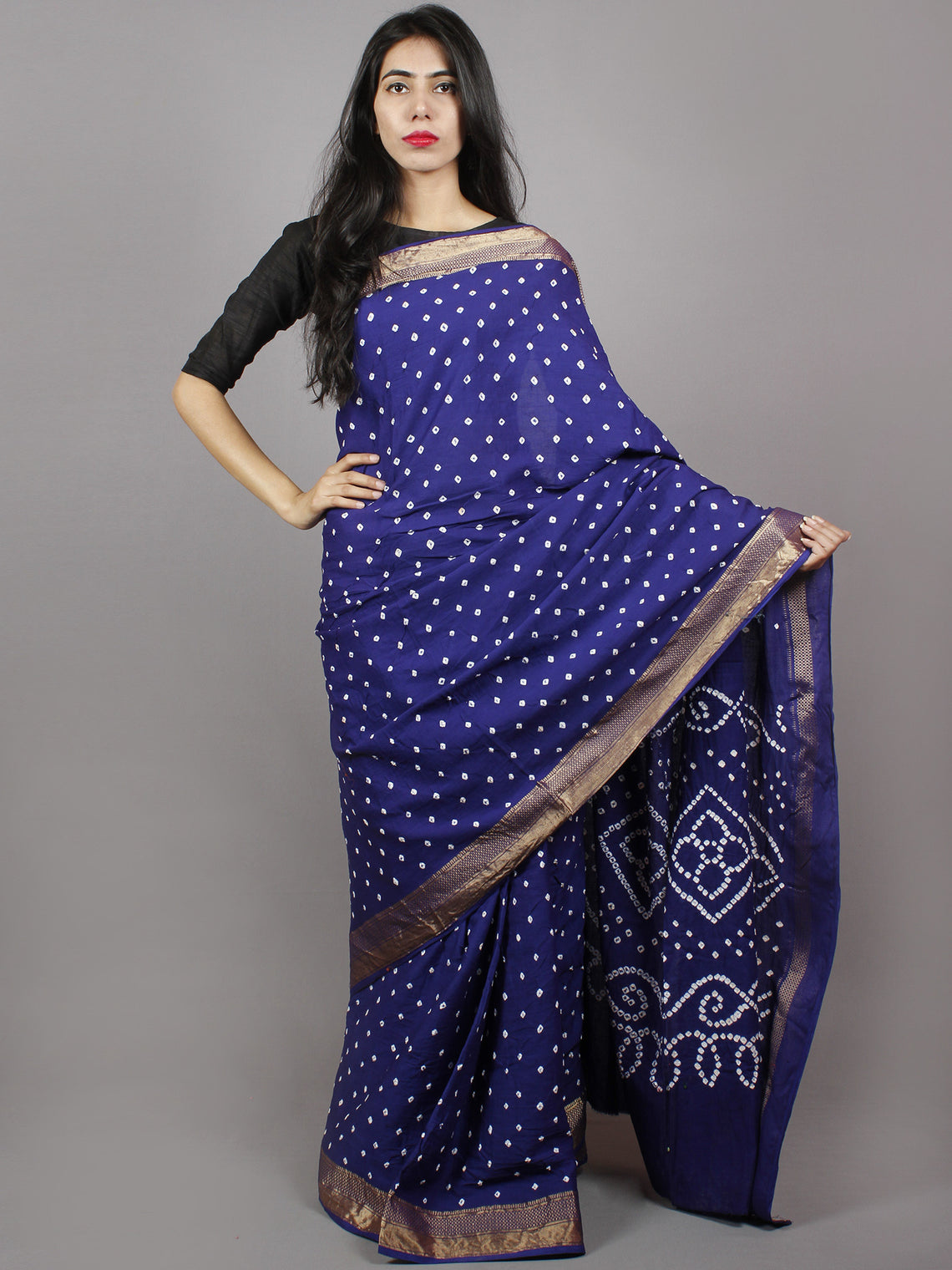 Admiral Blue White Hand Tie & Dye Bandhej Glace Cotton Saree With Resham Border - S031701327