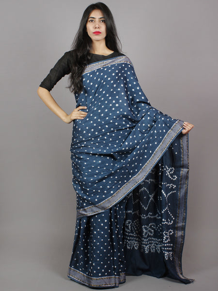 Aegean Blue Ivory Hand Tie & Dye Bandhej Glace Cotton Saree With Resham Border - S031701328