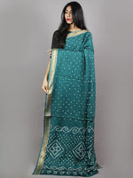 Dark Green Ivory Hand Tie & Dye Bandhej Glace Cotton Saree With Resham Border - S031701332