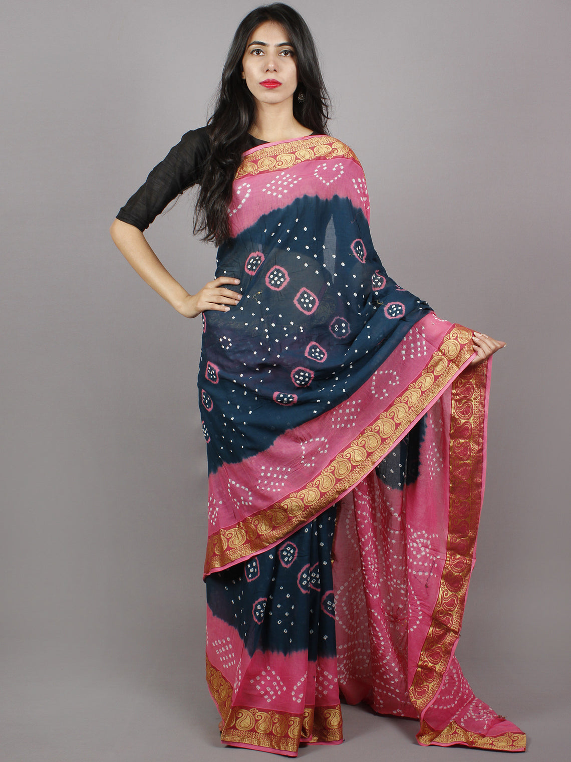 Lead Blue Pink White Hand Tie & Dye Bandhej Cotton Mul Saree With Resham Border - S031701333