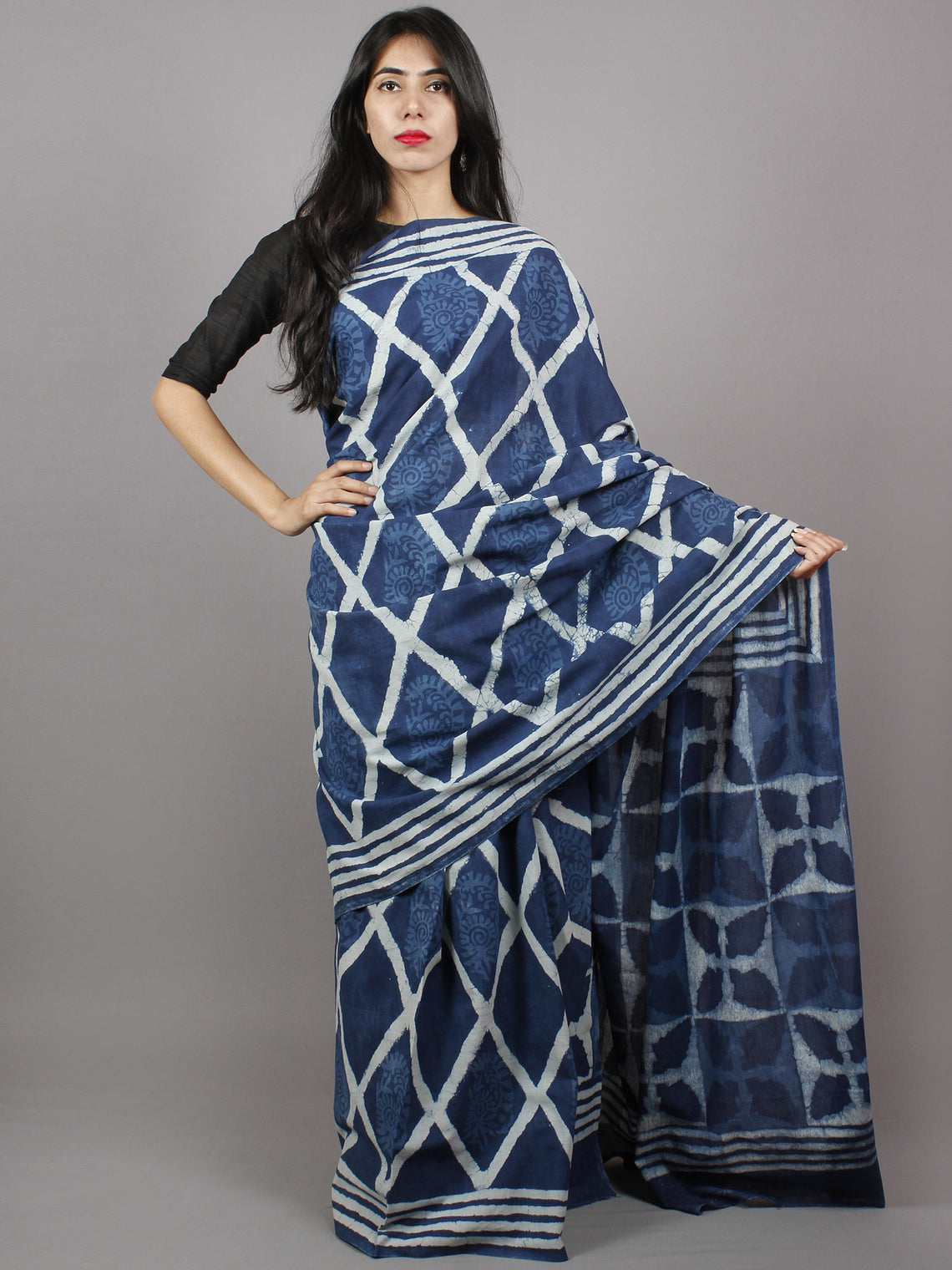 Indigo Blue White Hand Block Printed in Natural Colors Cotton Mul Saree - S031701337
