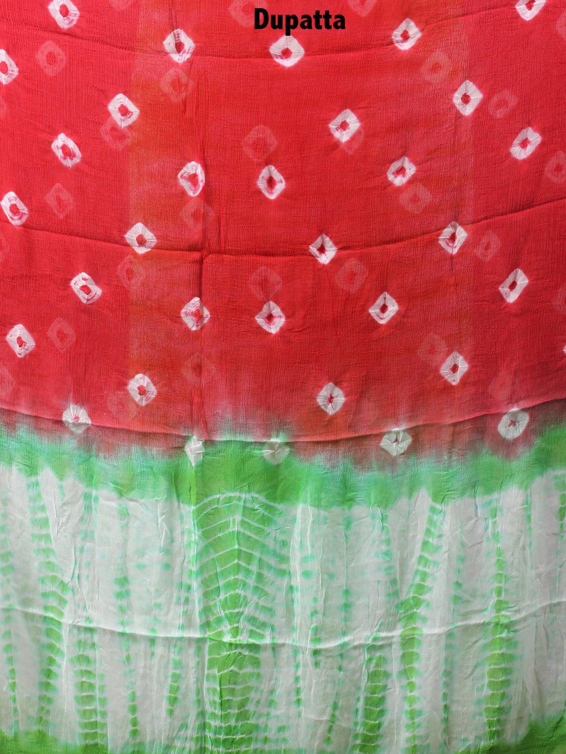 White Green Red Hand Shibori Dyed Cotton Suit-Salwar Fabric With Chiffon Dupatta - S1628134