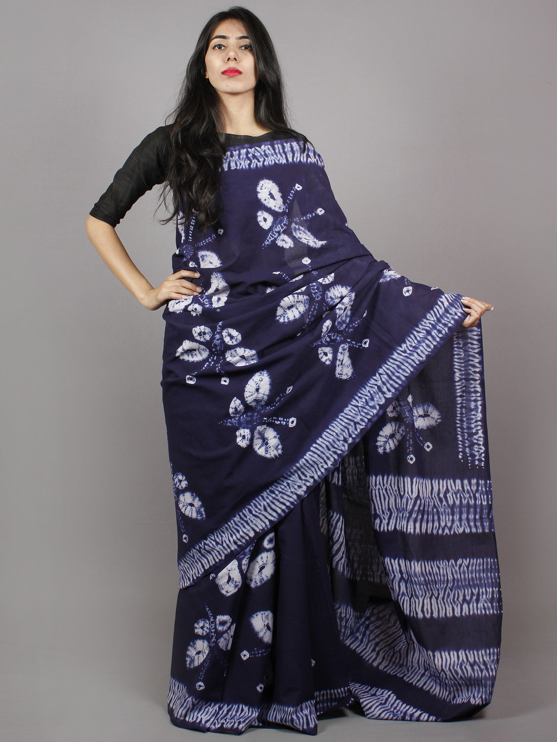 Dark Indigo Ivory Hand Dyed Shibori  Cotton Mul Saree  - S031701346