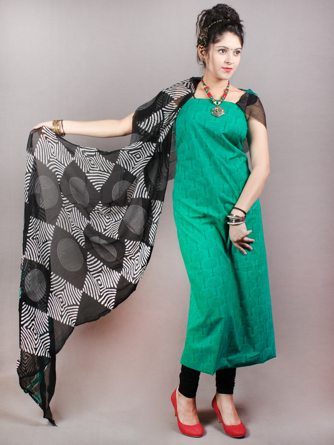 Persian Green Black White Hand Block Printed Cotton Suit-Salwar Fabric With Chiffon Dupatta - S1628135