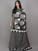 Black White Grey Hand Block Printed Cotton Mul Saree - S031701350