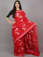Red Ivory Hand Dyed Shibori  Cotton Mul Saree  - S031701354