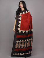 Maroon Black Beige Hand Block Painted & Printed Cotton Mul Saree - S031701356