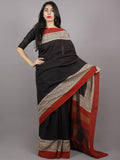 Black Maroon Beige Hand Block Painted & Printed Cotton Mul Saree - S031701357