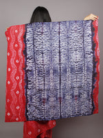 Red Ivory Indigo Hand Dyed Shibori  Cotton Mul Saree  - S031701358