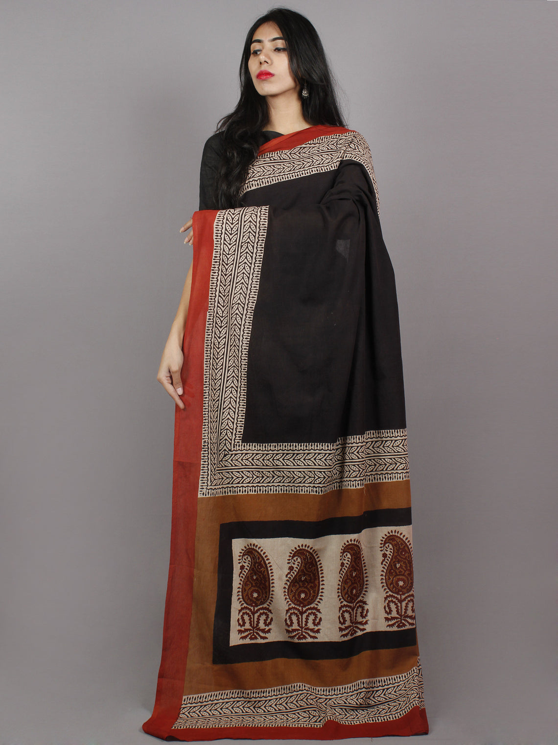 Black Maroon Beige Hand Block Painted & Printed Cotton Mul Saree - S031701359