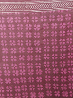 Carmine Pink White Hand Block Printed Cotton Saree - S031701367