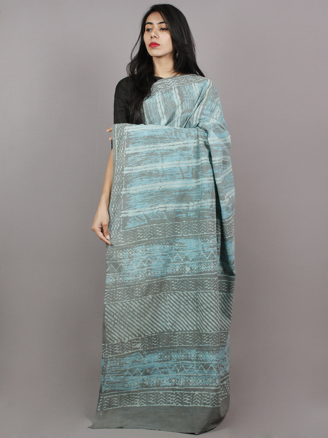 Grey Azure White Hand Block Printed Cotton Saree - S031701368