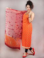 Orange Beige Hand Block Printed Cotton Suit-Salwar Fabric With Chiffon Dupatta - S1628137
