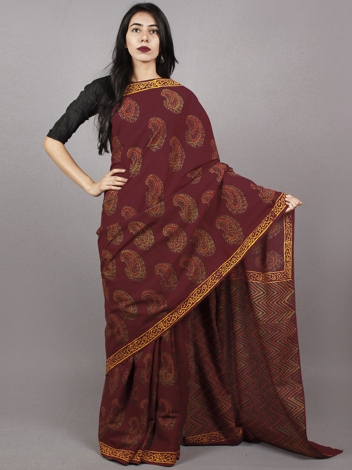 Gingerbread Maroon Yellow Green Hand Block Printed Cotton Saree - S031701370