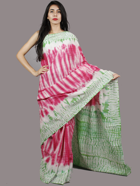 Pink Green Ivory Hand Shibori Dyed Cotton Saree - S031701373