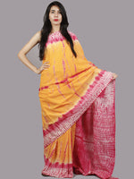 Yellow Pink Ivory Hand Shibori Dyed Cotton Saree - S031701375