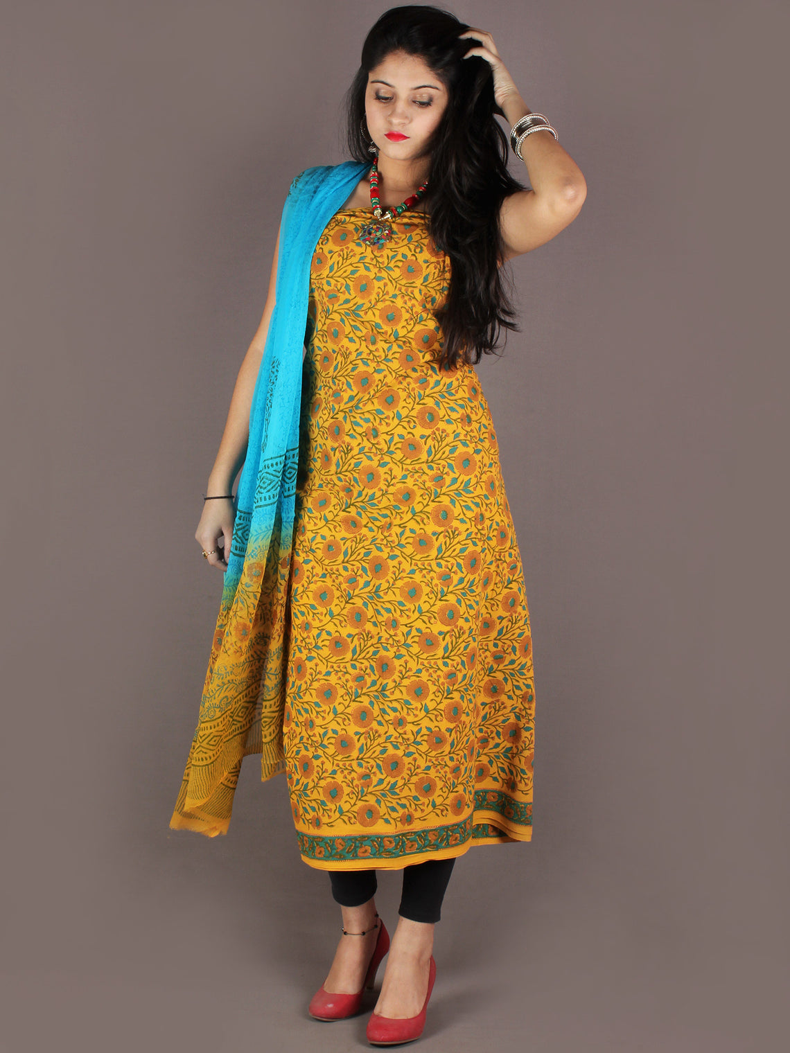 Yellow Sky Blue Hand Block Printed Cotton Suit-Salwar Fabric With Chiffon Dupatta - S1628138