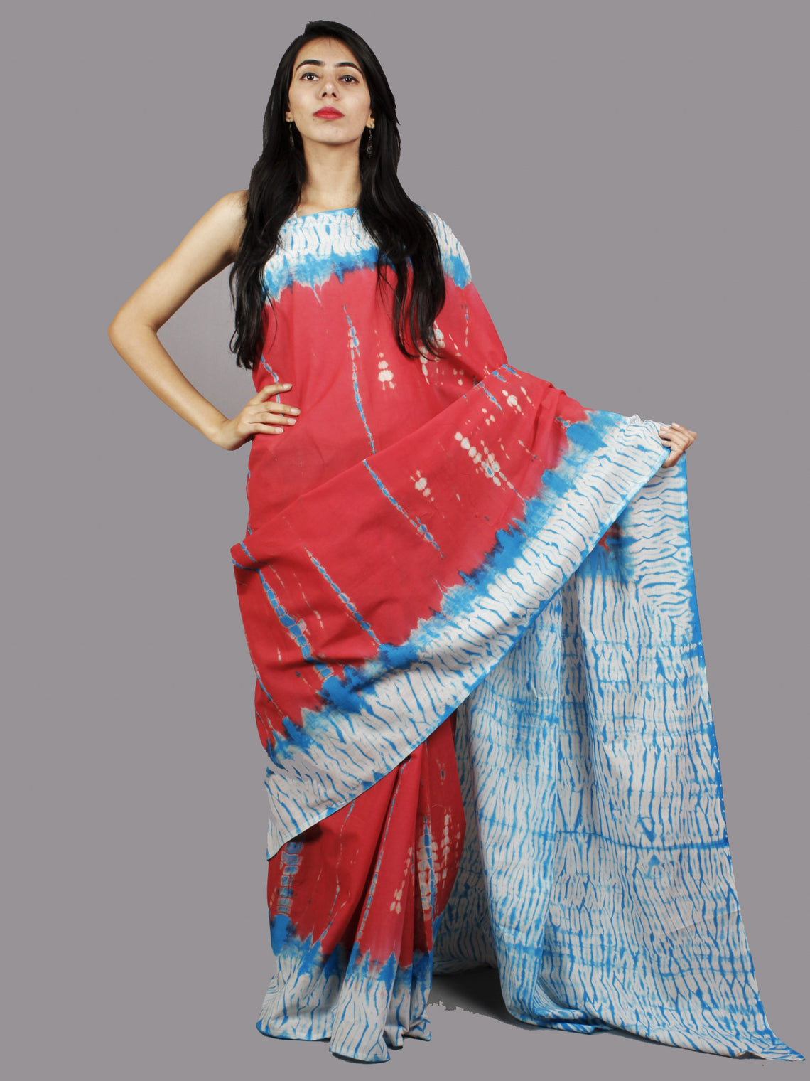 Red Cerulean Blue Ivory Hand Shibori Dyed Cotton Saree - S031701382