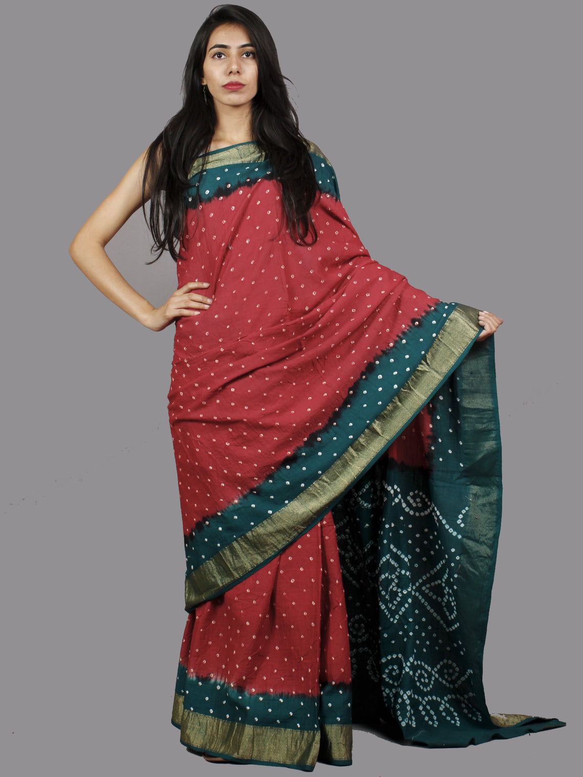 Maroon Peacock Green White Hand Tie & Dye Bandhej Glace Cotton Saree With Resham Border - S031701384