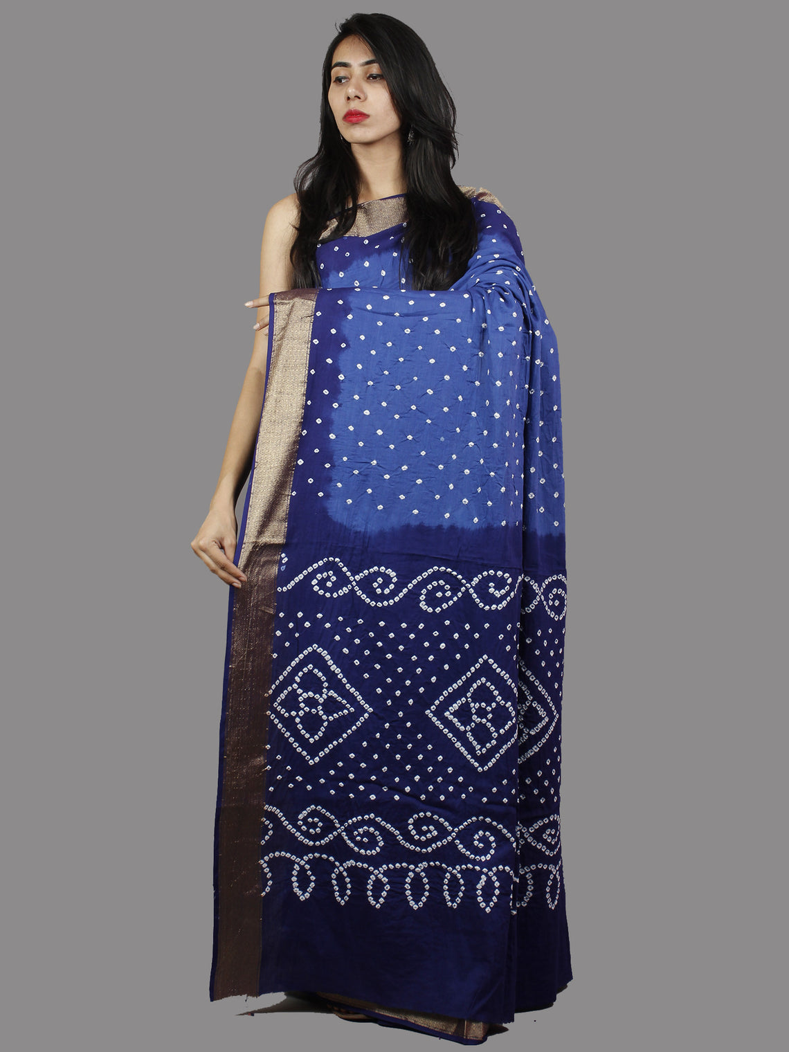 Blue White Hand Tie & Dye Bandhej Glace Cotton Saree With Resham Border - S031701388