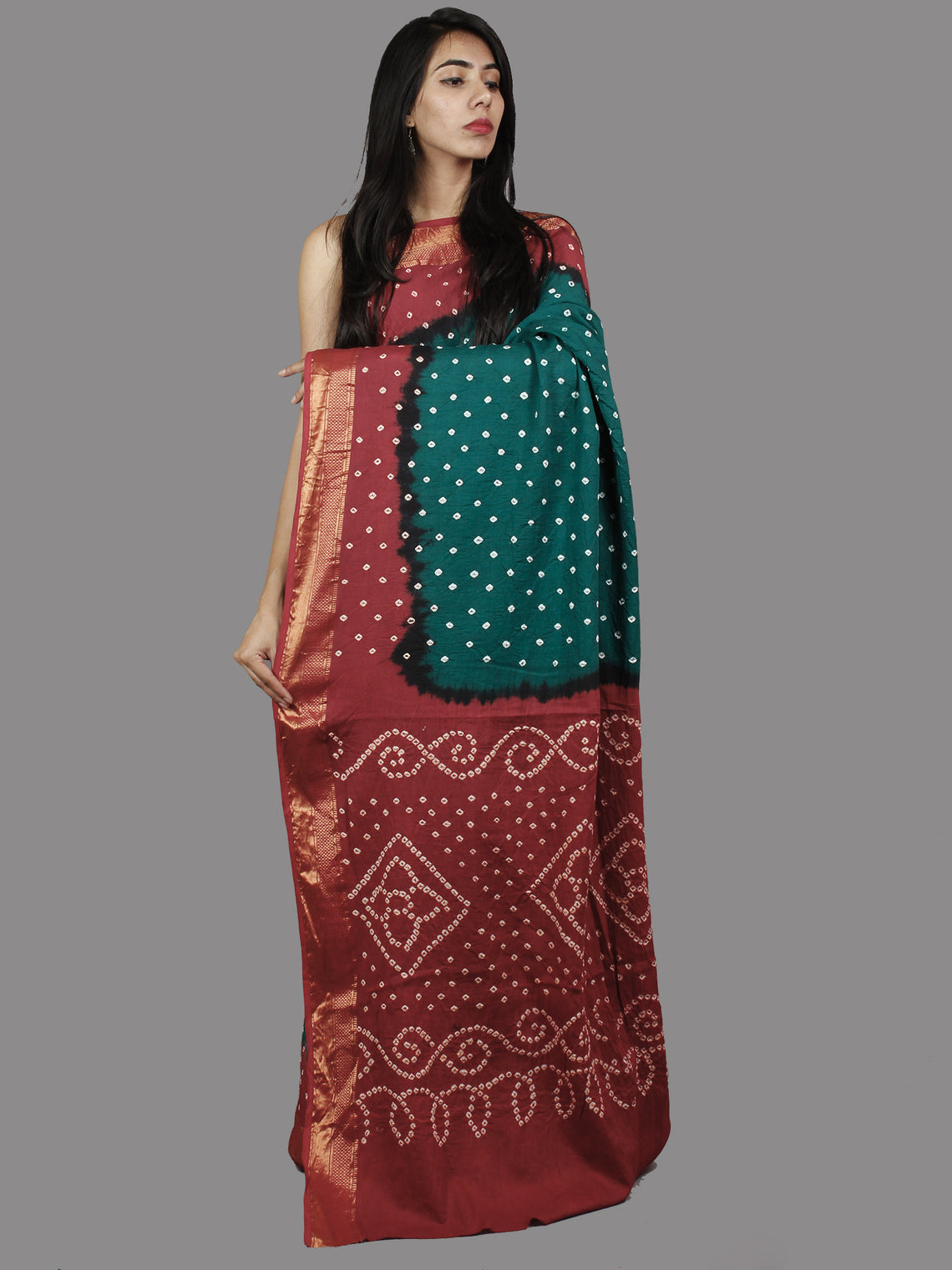 Peacock Green Maroon White Hand Tie & Dye Bandhej Glace Cotton Saree With Resham Border - S031701393