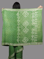 Sage Green White Hand Tie & Dye Bandhej Glace Cotton Saree With Resham Border - S031701397