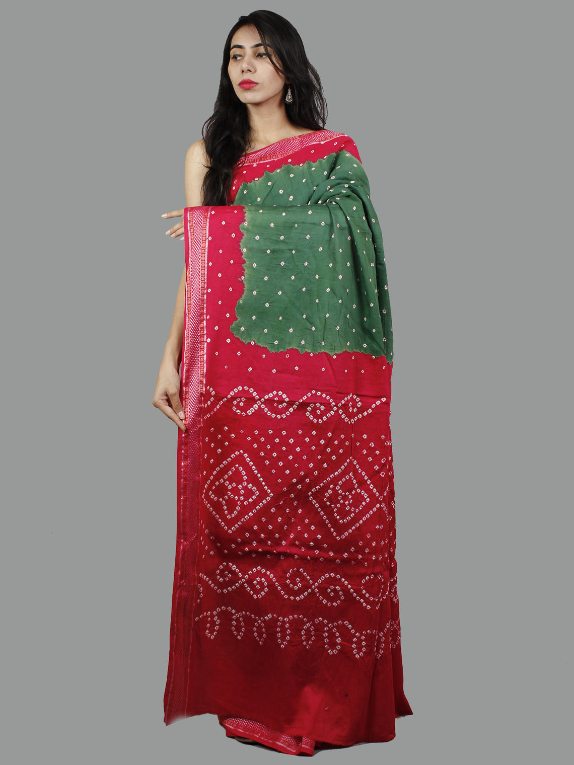 Red and Dark Green Hand Tie & Dye Bandhej Glace Cotton Saree With Resham Border - S031701399