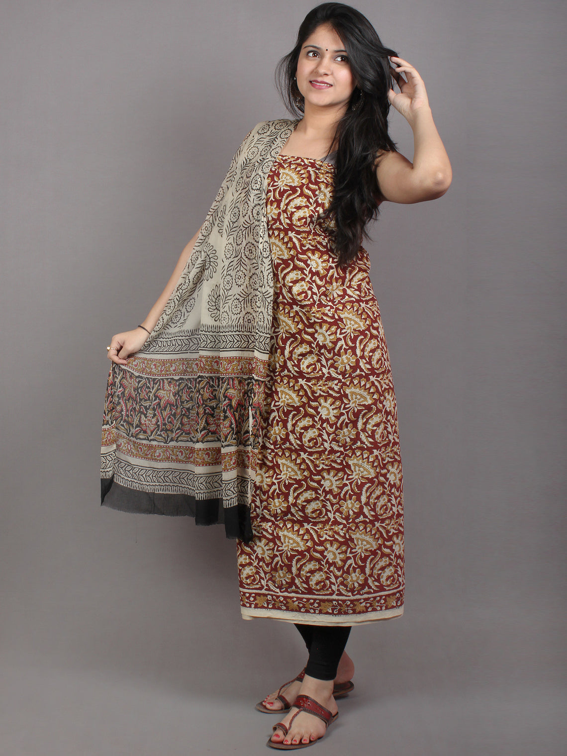 Maroon White Brown Hand Block Printed Cotton Suit-Salwar Fabric With Chiffon Dupatta - S1628054