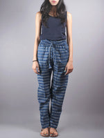 Indigo Hand Block Printed Elasticated Waist Trousers- T0317014