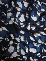 Indigo Beige Black Hand Block Printed Cotton Cambric Fabric Per Meter - F0916399