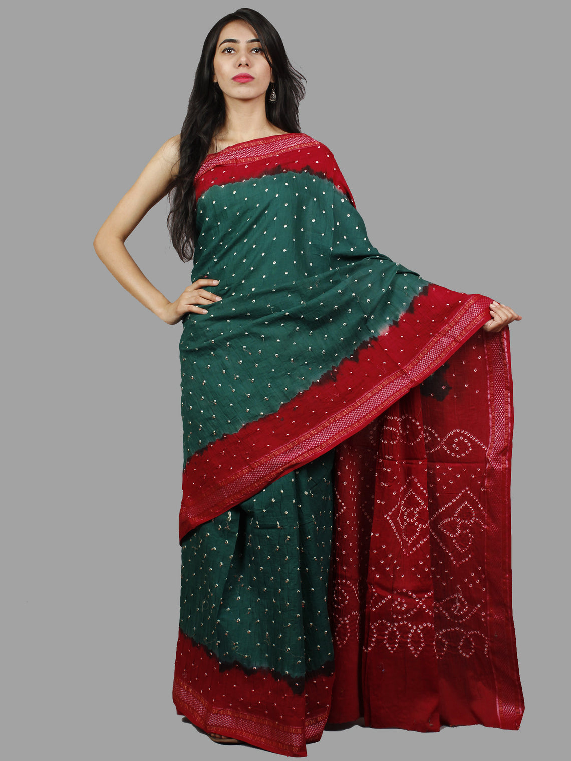 Peacock Green Red Ivory Hand Tie & Dye Bandhej Glace Cotton Saree With Resham Border - S031701404