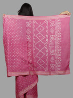 Pastel Pink Ivory Hand Tie & Dye Bandhej Glace Cotton Saree With Resham Border - S031701405