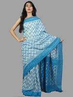 Sky Blue White Ikat Handwoven Pochampally Mercerized Cotton Saree - S031701407