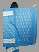 Sky Blue White Ikat Handwoven Pochampally Mercerized Cotton Saree - S031701411