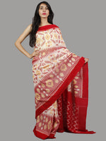 Ivory Red Pink Yellow Handwoven Pochampally Mercerized Cotton Saree - S031701417