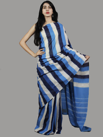 Indigo Blue White Ikat Handwoven Pochampally Mercerized Cotton Saree - S031701422