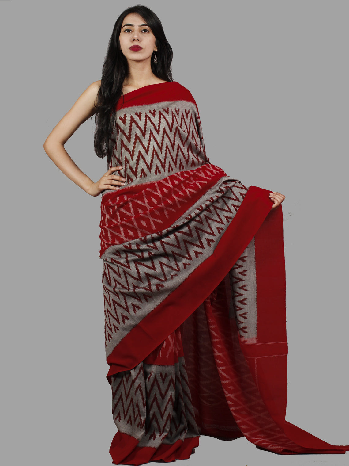 Red Steel Grey Maroon Ikat Handwoven Pochampally Mercerized Cotton Saree - S031701424