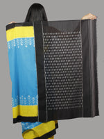 Cerulean Blue Yellow Black Ivory Ikat Handwoven Pochampally Mercerized Cotton Saree - S031701435