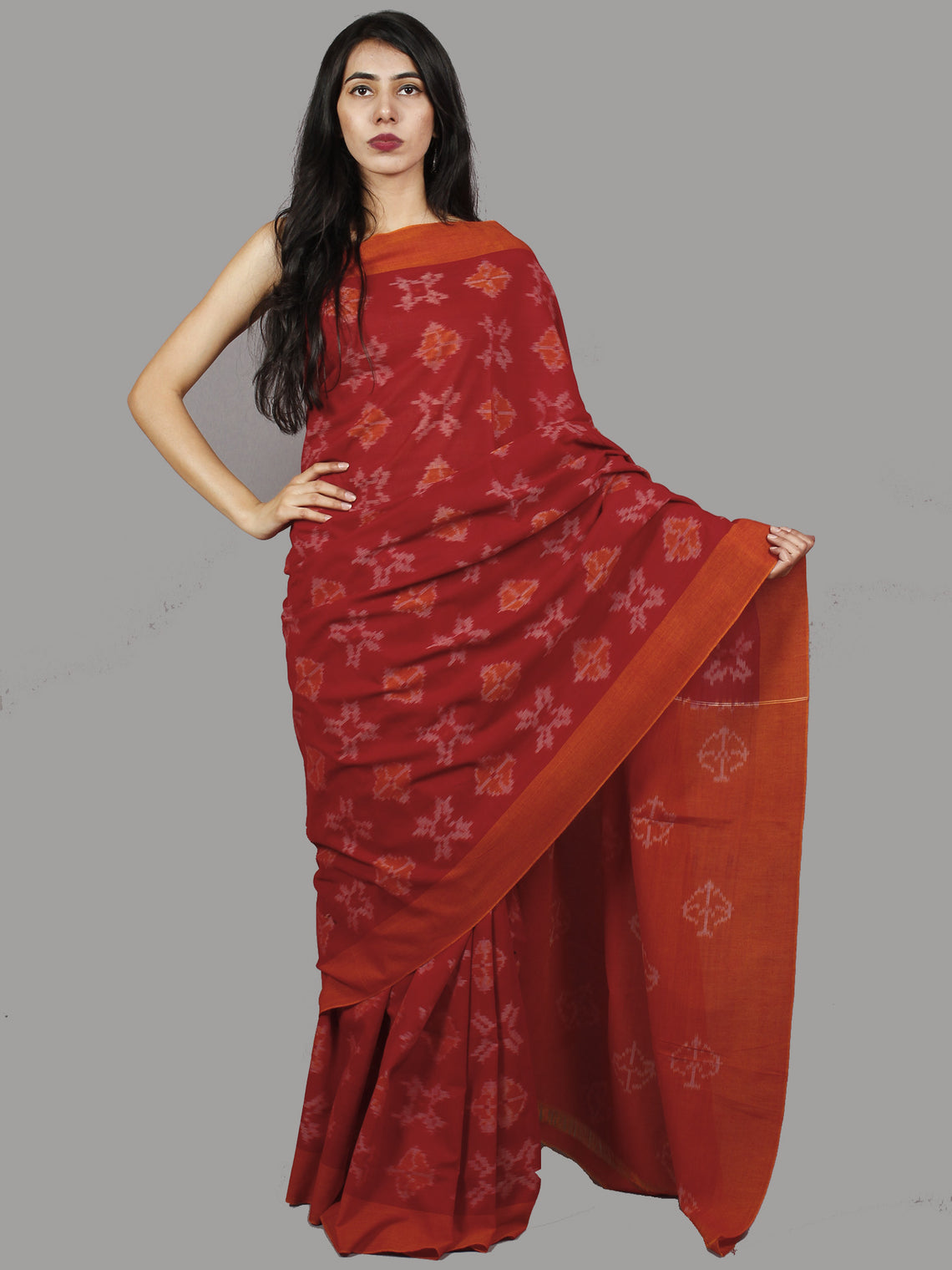 Cherry Red Rust Ivory Ikat Handwoven Pochampally Mercerized Cotton Saree - S031701437