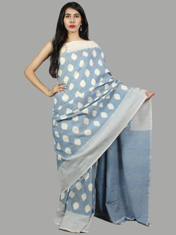 Pastel Blue Ivory Ikat Handwoven Pochampally Mercerized Cotton Saree - S031701446