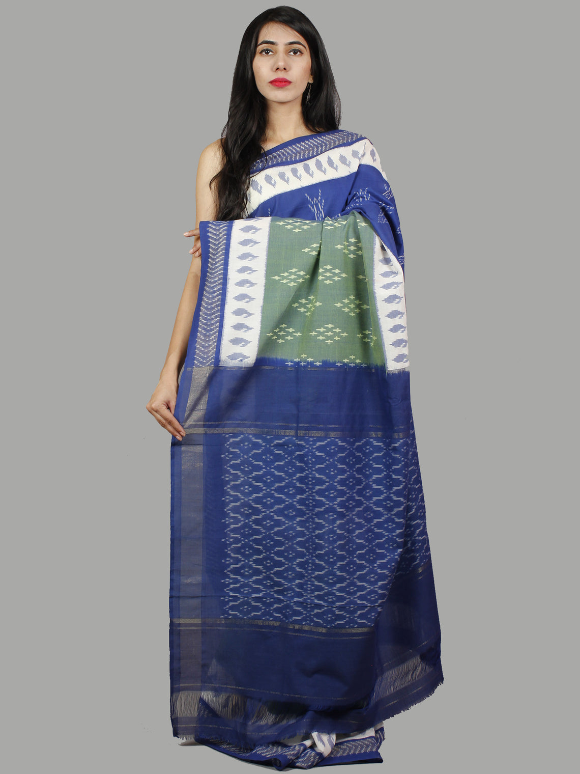 Blue Green Grey Ivory Ikat Handwoven Pochampally Mercerized Cotton Saree - S031701447