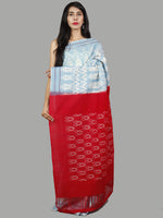 Pastel Blue Red Ivory Ikat Handwoven Pochampally Mercerized Cotton Saree - S031701448