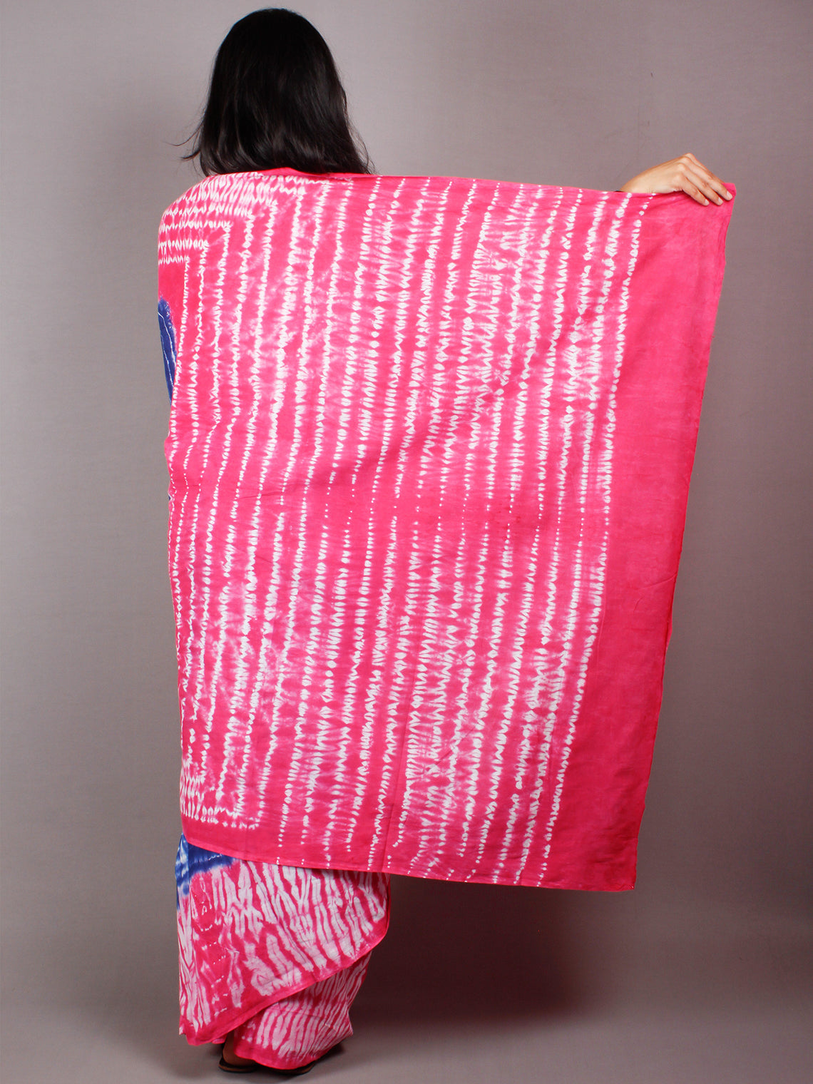 Indigo Pink White Hand Shibori Dyed Cotton Mul Saree  - S03170464