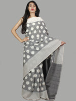 Steel Grey Ivory Ikat Handwoven Pochampally Mercerized Cotton Saree - S031701450
