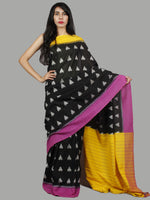 Black Yellow Purple Grey Ikat Handwoven Pochampally Mercerized Cotton Saree - S031701451