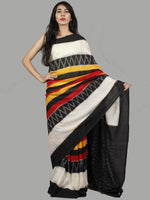 Black White Red Yellow Ikat Handwoven Pochampally Mercerized Cotton Saree - S031701453
